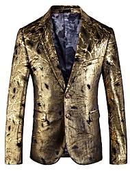 Недорогие -Муж. Размер ЕС / США Блейзер, Однотонный Рубашечный воротник Полиэстер Золотой