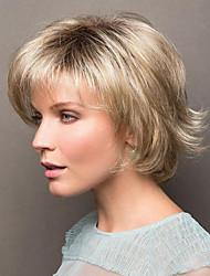 Недорогие -Парики из искусственных волос Естественный прямой Стиль Ассиметричная стрижка Без шапочки-основы Парик Золотистый Светло-золотой Искусственные волосы 8 дюймовый Жен. Для вечеринок Женский Золотистый