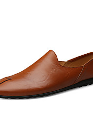 povoljno -Muškarci Kožne cipele Mekana koža Proljeće / Jesen Klasik / Ležerne prilike Natikače i mokasinke Hodanje Crn / Svjetlosmeđ / Tamno smeđa