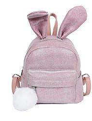 Недорогие -Большая вместимость Шелк Пайетки / Блеск рюкзак Сплошной цвет Повседневные Черный / Розовый / Цвет радуги / Наступила зима