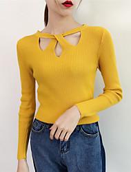 Недорогие -Жен. Однотонный Длинный рукав Пуловер, Круглый вырез Осень Черный / Белый / Желтый Один размер