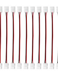 Недорогие -10шт 2-контактный одноцветный припой светодиодные полосы провода провода ленты разъемы для 8 мм / 10 мм в ширину гибкие светодиодные полосы света