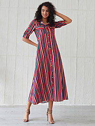 povoljno -Žene Osnovni Majica Haljina - S izrezom Kolaž Print, Prugasti uzorak Color block Maxi