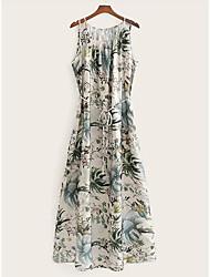 cheap -Women's Basic Sheath Dress - Floral White S M L