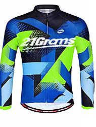 Недорогие -21Grams Муж. Длинный рукав Велокофты Морской синий Велоспорт Джерси Верхняя часть Устойчивость к УФ Дышащий Влагоотводящие Виды спорта 100% полиэстер Горные велосипеды Шоссейные велосипеды Одежда