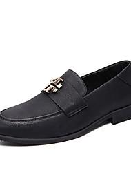 ราคาถูก -สำหรับผู้ชาย สไตล์อินเดียนแดง หนังเทียม ฤดูร้อนฤดูใบไม้ผลิ ไม่เป็นทางการ รองเท้าส้นเตี้ยทำมาจากหนังและรองเท้าสวมแบบไม่มีเชือก สีดำ