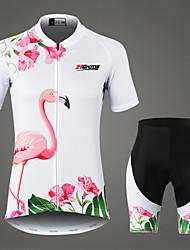 Недорогие -21Grams Жен. С короткими рукавами Велокофты и велошорты Белый Фламинго Цветочные ботанический Велоспорт Наборы одежды Дышащий Влагоотводящие Быстровысыхающий Виды спорта 100% полиэстер / троеборье