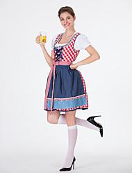 billige -Halloween Karneval Oktoberfest dirndl Dame bayerske Rød Blå Kjole Forklæde