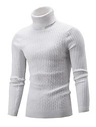Недорогие -Муж. Однотонный Длинный рукав Пуловер, Хомут Осень / Зима Черный / Винный / Светло-серый US32 / UK32 / EU40 / US34 / UK34 / EU42 / US36 / UK36 / EU44