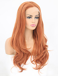 Недорогие -Синтетические кружевные передние парики Волнистый Естественные волны Стиль Свободная часть Лента спереди Парик Оранжевый Искусственные волосы 8-12 дюймовый Жен. Мягкость Эластичный Женский Розовый