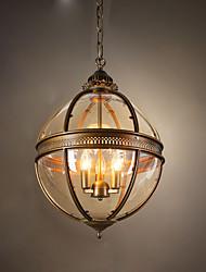 Недорогие -ecolight ™ 1шт подвесной светильник с глобусом, рассеянный свет, латунь, черная покрасочная лампа для столовой, прихожая Лампа 110-120 В / 220-240 В в комплект не входит