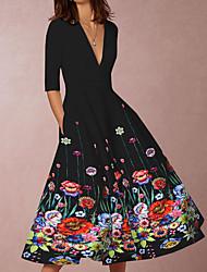 Недорогие -Жен. С летящей юбкой Платье - Цветочный принт, С принтом Средней длины