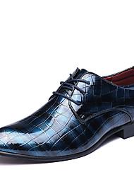 Недорогие -Муж. Официальная обувь Лакированная кожа Весна / Наступила зима Деловые / На каждый день Туфли на шнуровке Нескользкий Черный / Винный / Синий