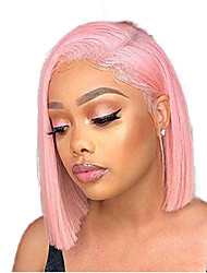 Недорогие -Синтетические кружевные передние парики Прямой Стиль Средняя часть Лента спереди Парик Розовый Розовый Искусственные волосы 8-10 дюймовый Жен. Регулируется Жаропрочная Для вечеринок Розовый Парик