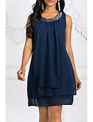 Недорогие -Жен. Большие размеры Шифон Платье - Однотонный Мини