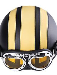 Недорогие -унисекс высокое качество искусственная кожа мотоциклетный шлем capacete bongrace с открытым лицом полушлемы защитные очки козырек защитный шлем мотокроссу желтый шлем и красочные очки линзы