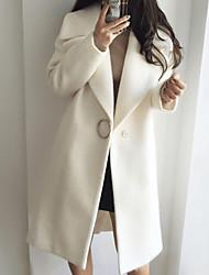 Недорогие -Жен. Повседневные Классический Длинная Пальто, Однотонный Лацкан с тупым углом Длинный рукав Полиэстер Белый / Розовый