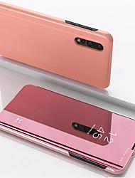 Недорогие -Кейс для Назначение Xiaomi Xiaomi Redmi Примечание 5 / Xiaomi Redmi Note 7 / Xiaomi Mi 9 со стендом / Зеркальная поверхность Чехол Однотонный Кожа PU / ПК