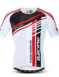 hesapli -JPOJPO Erkek Kısa Kollu Bisiklet Forması Kırmızı ve Beyaz Bisiklet Forma Üstler Nefes Alabilir Hızlı Kuruma Spor Dalları Polyester Elastane Terylene Dağ Bisikletçiliği Yol Bisikletçiliği Giyim