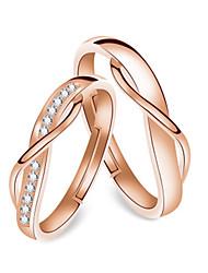 Недорогие -Для пары Кольца для пар Кольцо 1шт Золотой Розовое золото Медь Круглый Классический корейский Мода фестиваль Бижутерия