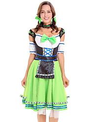 billige -Halloween Karneval Oktoberfest dirndl Dame bayerske Grøn Kjole Ærmer Hovedtøj