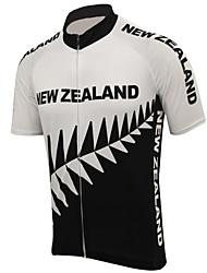 Недорогие -21Grams Новая Зеландия Флаги Муж. С короткими рукавами Велокофты - Черный / Белый Велоспорт Верхняя часть Устойчивость к УФ Дышащий Влагоотводящие Виды спорта Терилен / Слабоэластичная