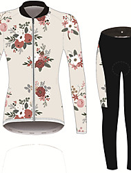 cheap -21Grams Women's Long Sleeve Cycling Jersey with Tights Black / White Solid Color Floral Botanical Bike UV Resistant Quick Dry Sports Spandex Solid Color Mountain Bike MTB Road Bike Cycling Clothing