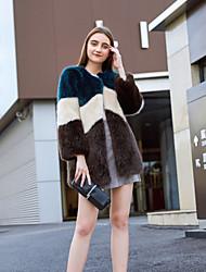 billige -Dame Daglig / Arbeid / Strand Vinter Lang Faux Fur Coat, Fargeblokk Krageløs Langermet Fuskepels Navyblå S / M / L