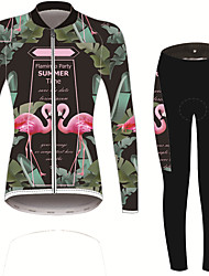 cheap -21Grams Women's Long Sleeve Cycling Jersey with Tights Forest Green Solid Color Floral Botanical Bike UV Resistant Quick Dry Sports Spandex Solid Color Mountain Bike MTB Road Bike Cycling Clothing