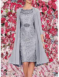 Недорогие -Жен. Элегантный стиль Из двух частей Платье - Однотонный, Кружева До колена
