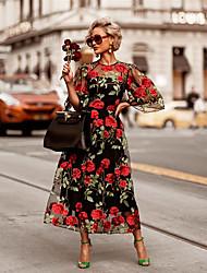 Недорогие -Жен. Классический Элегантный стиль С летящей юбкой Платье - Цветочный принт, Кружева Пэчворк Вышивка Макси Роуз
