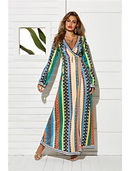 Недорогие -Жен. Элегантный стиль С летящей юбкой Платье - Контрастных цветов Макси