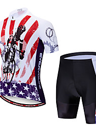 billige -EVERVOLVE Herre Kortærmet Cykeltrøje og shorts Cykelshorts Rød+Sort Cykel Sport Patchwork Bjerg Cykling Vej Cykling Tøj / Avansert / Høj Elasticitet / triathlon