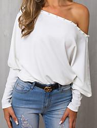 Недорогие -Жен. Блуза На одно плечо Однотонный Белый
