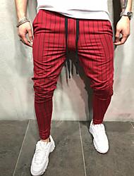 povoljno -Muškarci Osnovni Chinos / Sportske hlače Hlače - Prugasti uzorak Crn Red Djetelina US32 / UK32 / EU40 US34 / UK34 / EU42 US36 / UK36 / EU44