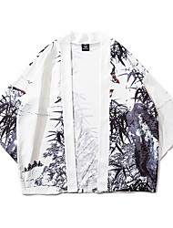 billige -Herre Daglig Basale Normal Kimono Jakke, Geometrisk Kraveløs Langærmet Polyester Hvid US36 / UK36 / EU44 / US38 / UK38 / EU46 / US42 / UK42 / EU50