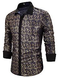 Недорогие -Муж. Пайетки Рубашка Классический Полоски Красный Золотой