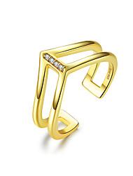 Недорогие -V-образный двухслойный палец кольцо для женщин стерлингового серебра 925 пробы золото цвет мода корейский стиль ювелирных изделий