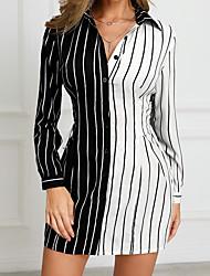 Недорогие -Жен. Классический Оболочка Рубашка Платье - Полоски Контрастных цветов Мини