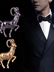 Недорогие -Муж. Броши Классический Овечья шерсть Креатив Животный принт Классика Классический Панк Камни Мода Брошь Бижутерия Матовый черный Золотой Серебряный Назначение
