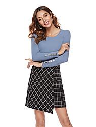 abordables -Femme Couleur Pleine Manches Longues Pullover, Col Arrondi Blanche / Jaune / Bleu Taille unique