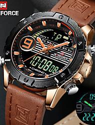 Недорогие -Муж. Армейские часы Кварцевый Нержавеющая сталь Натуральная кожа Синий / Оранжевый / Фиолетовый 30 m Будильник Секундомер С двумя часовыми поясами Аналого-цифровые LED На открытом воздухе Мода -