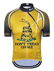 billige -WEIMOSTAR Herre Kortærmet Cykeltrøje Gul Nyhed Cykel Træningsdragt Trøje Toppe Åndbart Sport Polyester Elastin Terylene Bjerg Cykling Vej Cykling Tøj / Mikroelastisk