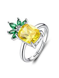 Недорогие -Лето ананас регулируемые кольца s925 серебро большой кубический цирконий свободный размер кольцо для женщин заявление ювелирные изделия размер 1.8 см х 1.2 см