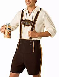 billige -Halloween Karneval Oktoberfest Trachtenkleider Herre bayerske Kaffe Top Bukser Hat