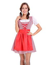 billige -Halloween Karneval Oktoberfest dirndl Dame bayerske Rød Top Kjole Forklæde