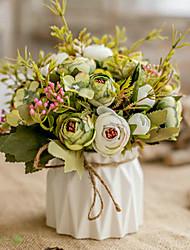 Недорогие -Искусственные Цветы 1 Филиал Классический европейский Пастораль Стиль Розы Пионы Букеты на стол