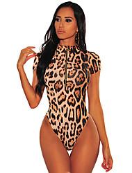 Недорогие -Жен. С принтом Боди Ночное белье Леопард Цвет радуги S M L