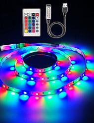 Недорогие -ZDM 5 В 1 м USB питание от smd 60 x 2835 8 мм цвет светодиодные полосы с 24 клавишами ик-пульт дистанционного управления для ТВ фоновое освещение ПК ноутбук украшения дома