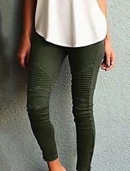 Недорогие -Жен. Уличный стиль Тонкие Брюки - Однотонный Завышенная Хлопок Черный Винный Военно-зеленный XS S M